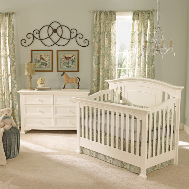 Centennial Medford 2 Piece Nursery Set - Crib and Double Dresser in White