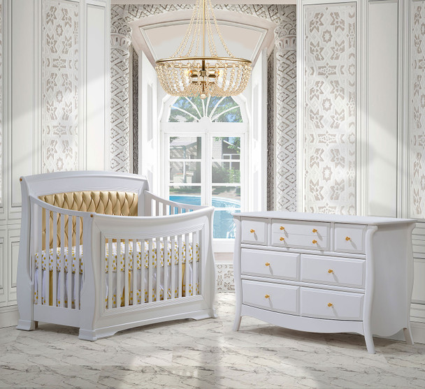 Natart Bella Gold Collection 2 Piece Nursery Set Crib with Gold Tufted Panel and Double Dresser