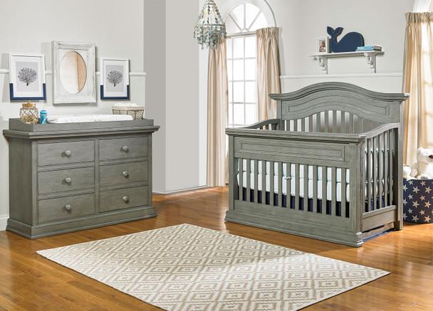 Dolce Babi Marco 2 Piece Nursery Set Crib and Double Dresser in Nantucket Grey