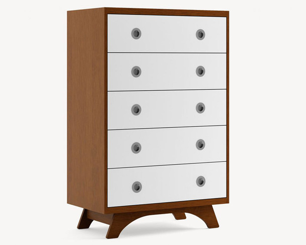 Dutailier Melon 5 Drawer Dresser - Front and Back in Walnut