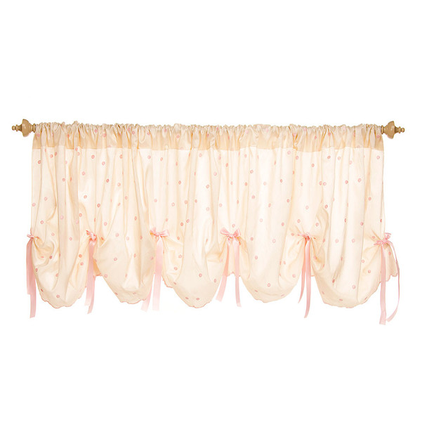 Glenna Jean Charlotte Window Valance in Pink Dot Embroidery with Bows