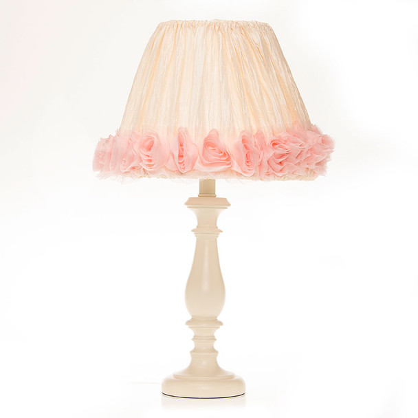 Glenna Jean Charlotte Cream Lamp Base with Crinkle and Pink Roses Shade