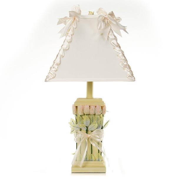 Glenna Jean Charlotte Yellow Lamp Base with Roses & Ribbon Shade