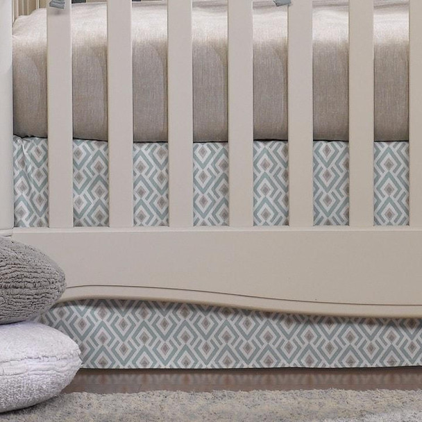"""Liz and Roo Archery Crib Skirt 17"""" Drop in Taupe and Aqua"""