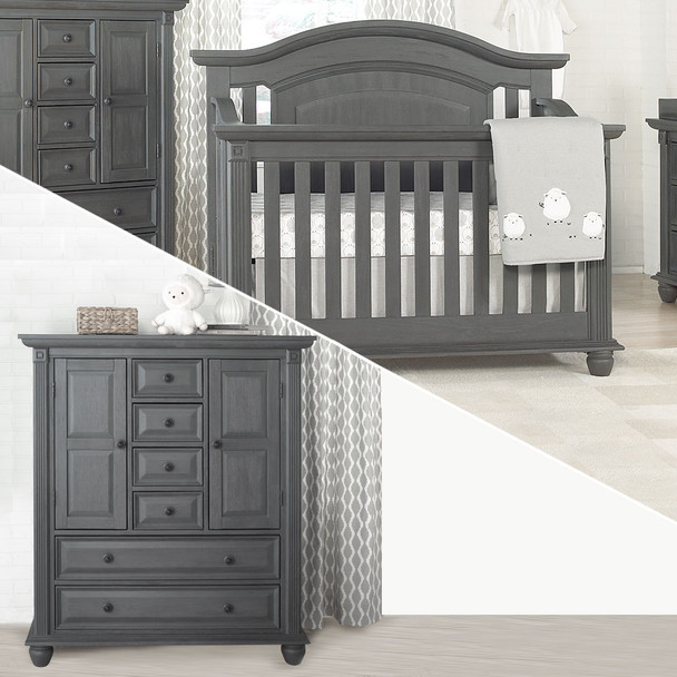 Oxford Baby London Lane 2 Piece Nursery Set - Crib & Chifferobe in Arctic Gray
