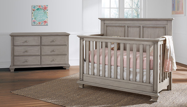Oxford Baby Kenilworth Collection 2 Piece Set - 4 in 1 Convertible Crib & 6 Drawer Dresser in Stone Wash