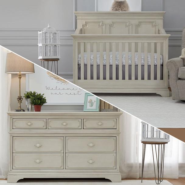 Biltmore by Heritage Amherst 2 Piece Nursery Set in Antique White - 7dr Dresser and Crib