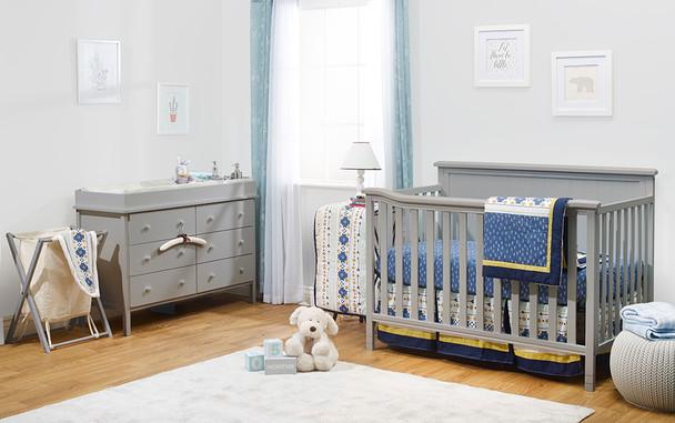 Sorelle Berkley Elite Complete Room (4 In 1 Crib, Hamper, And Double Dresser) in Grey