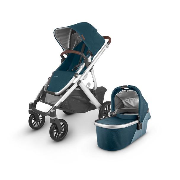 UPPAbaby Vista V2 Stroller - in Finn (deep sea/silver frame/chestnut leather)