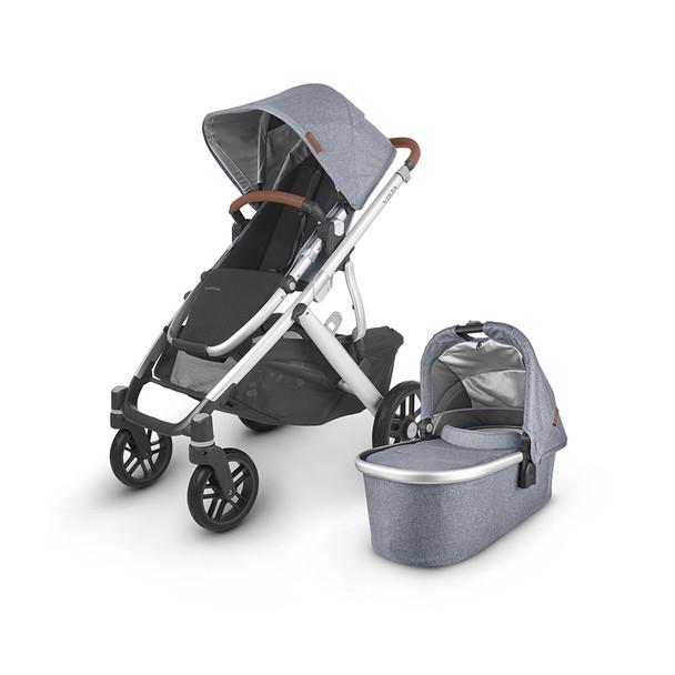 Uppa Baby Vista V2 Stroller - in Gregory (blue melange/silver frame/saddle leather)