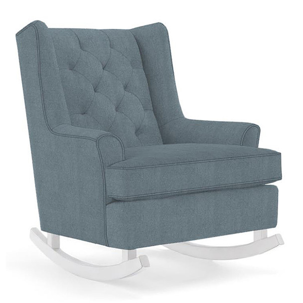 Best Chairs Paisley Swivel Glider in Blue Slate