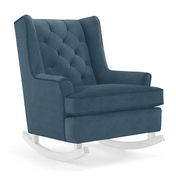 Best Chairs Paisley Swivel Glider in Navy