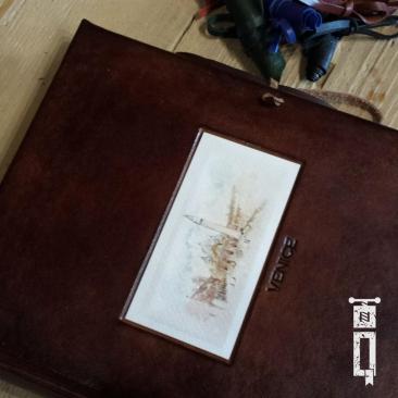 Album Foto - Piccolo | Pelle Marrone con Cartolina Piazza San Marco e Incisione Venice