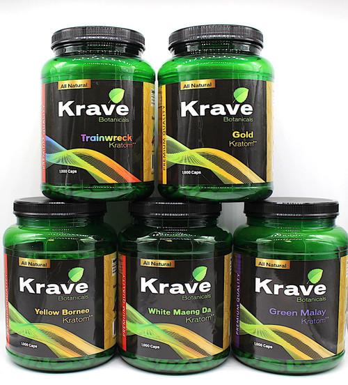 Krave Botanicals Kratom 1,000  Capsules