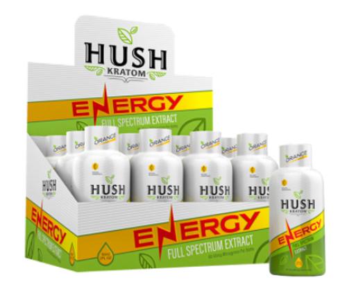 Hush Kratom - Full Spectrum Energy Extract Shots ( 2FL OZ. / Display of 12 )