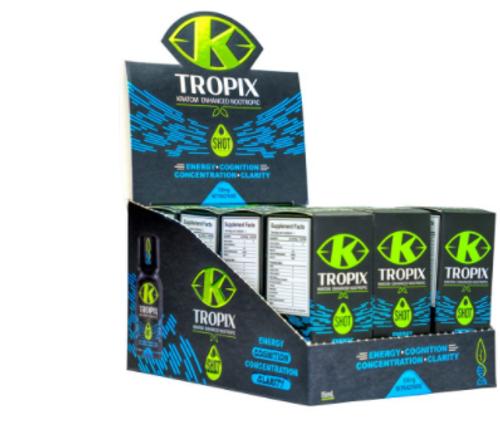 Tropix - Kratom Enhanced Nootropic Liquid Shot ( 15ML / Display of 12 )