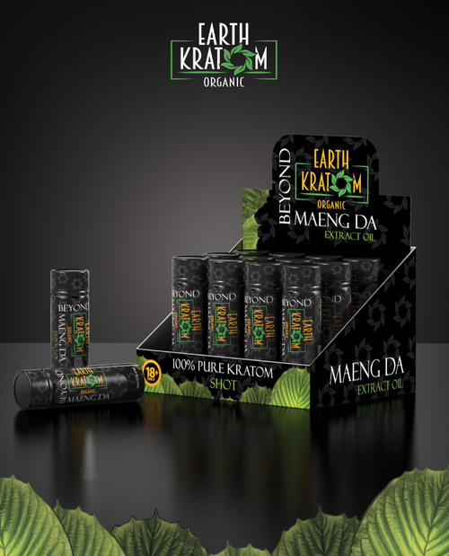 Earth Kratom Black Edition Extract Oil Shots  Display of 12ct