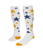 Celebrity Knee High Sports Socks - White with Gold & Royal Blue