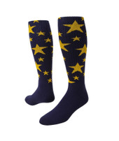 Stars Knee High Sports Socks - Navy Blue & Gold