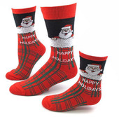 Men's Santa Plaid Christmas Socks