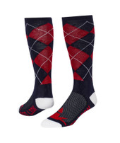 Trend Argyle Knee High Sports Socks - Red Navy Blue