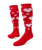 Hearts Knee High Sports Socks - Red & White