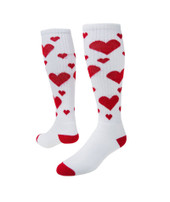 Hearts Knee High Sports Socks - White & Red