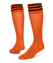 3 Stripe Striker Knee High Sports Socks - Orange & Black