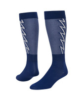 Lightning Bolt Knee High Sports Socks - Royal Blue & White