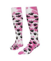 Tie Dyed Paws Knee High Sports Socks - Pink