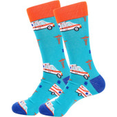 Pair of Men's Ambulance and Front Line Worker Novelty Socks - Turquoise
