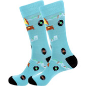 Men's Old Fashioned Record Player and Music Disc Novelty Socks - Navy
