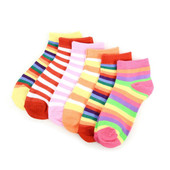 6 Pairs of Women's Playful and Colorful Stripes Ankle Socks - Multicolor