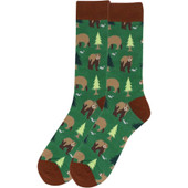 Men's Brown Bears Playing In The Woods Novelty Socks - Green