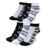 6 Pairs of Women's Tickle the Ivories Ankle Socks - Black/White