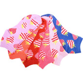 6 Pair of Women's Sweet as a Strawberry Stripes Ankle Socks - Pink/Blue