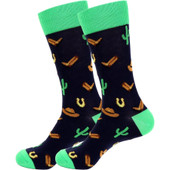 Men's Wild West Cactus and Cowboy Classic Novelty Socks - Black/Green