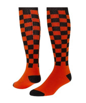 Checkerboard Knee High Sports Socks - Orange Black