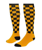 Checkerboard Knee High Sports Socks - Gold Black - Medium