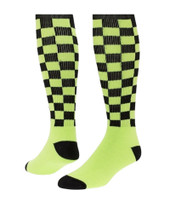 Checkerboard Knee High Sports Socks - Black Neon Green - Medium