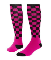 Checkerboard Knee High Sports Socks - Black Neon Pink - Medium