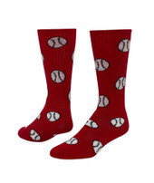 Baseball/Softball Knee High Sports Socks - Red