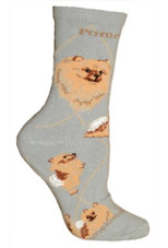 Pomeranian Crew Novelty Socks - Gray