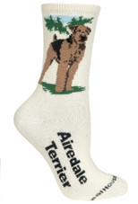 Airedale Terrier Label Crew Novelty Socks