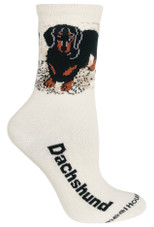 Black Dachshund Label Crew Novelty Socks