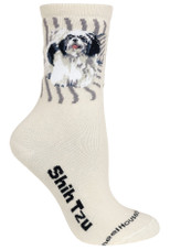 Black Shih Tzu Label Crew Novelty Socks