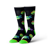 Men's TMNT Retro Turtle Heads Crew Novelty Socks