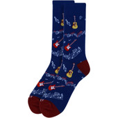 Men's Guitar & Music Notes Crew Collection Novelty Socks - Navy