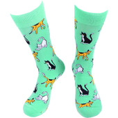 Pair of Men's Playful Cats Crew Novelty Socks - Turquoise