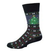 Men's Window Christmas Tree Crew Novelty Socks
